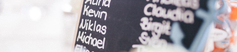 Tafel mit Namen